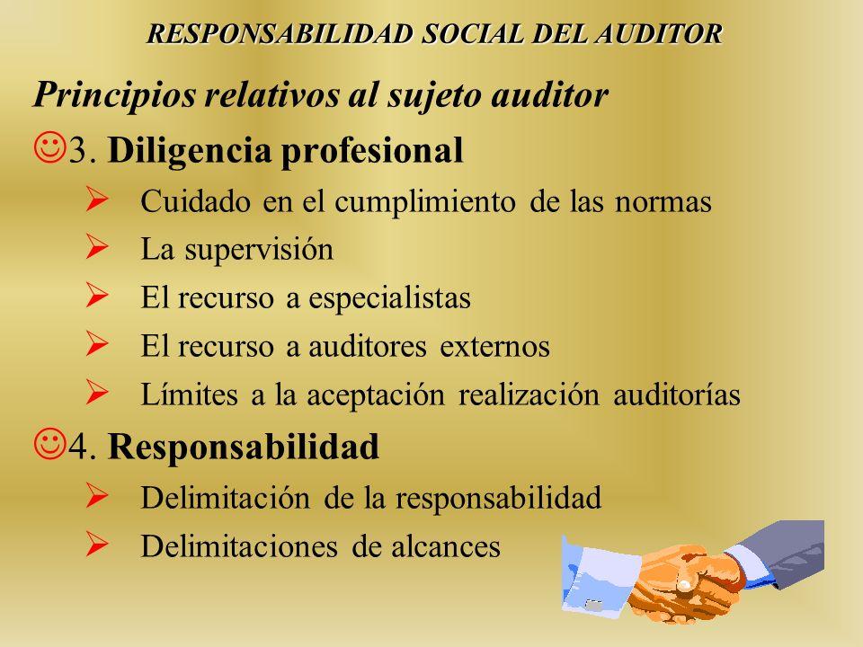 Principios relativos al sujeto auditor 3. Diligencia profesional Cuidado en el cumplimiento de las normas La supervisión El recurso a especialistas El
