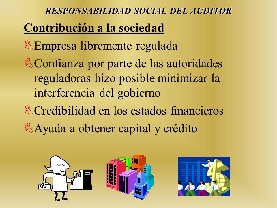 Contribución a la sociedad Empresa libremente regulada Confianza por parte de las autoridades reguladoras hizo posible minimizar la interferencia del