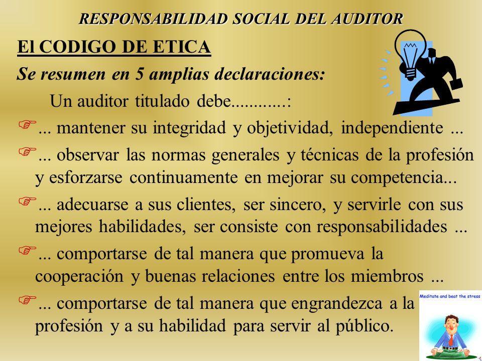 RESPONSABILIDAD SOCIAL DEL AUDITOR El CODIGO DE ETICA Se resumen en 5 amplias declaraciones: Un auditor titulado debe............: F... mantener su in