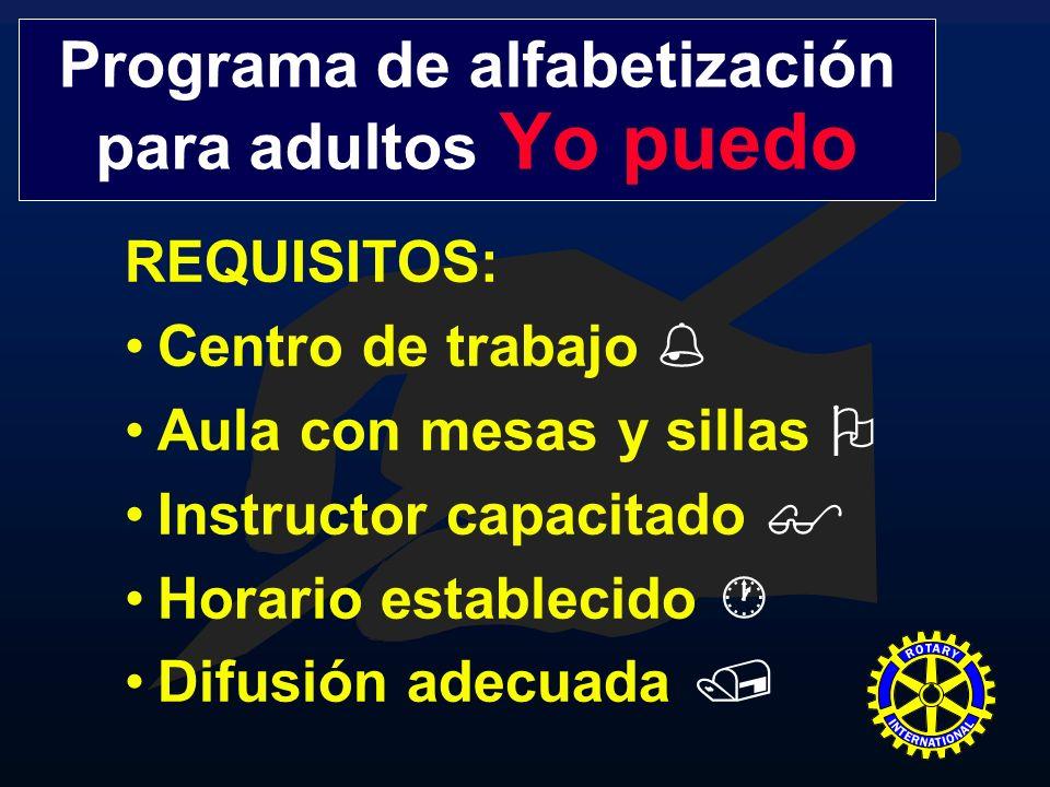 REQUISITOS: Centro de trabajo Aula con mesas y sillas Instructor capacitado Horario establecido Difusión adecuada Programa de alfabetización para adul