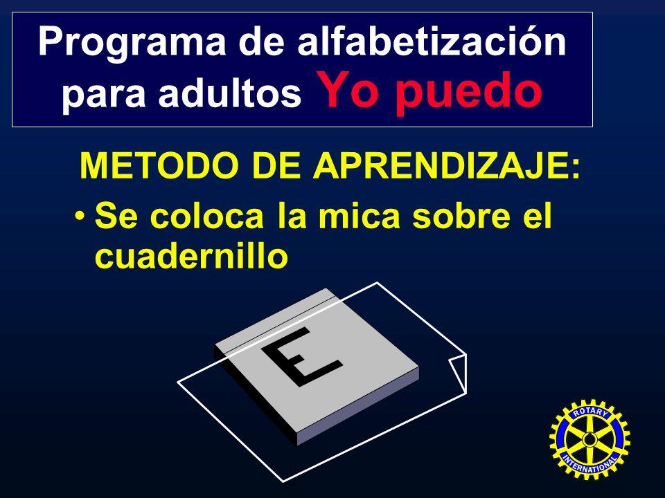 METODO DE APRENDIZAJE: Se coloca la mica sobre el cuadernillo Programa de alfabetización para adultos Yo puedo