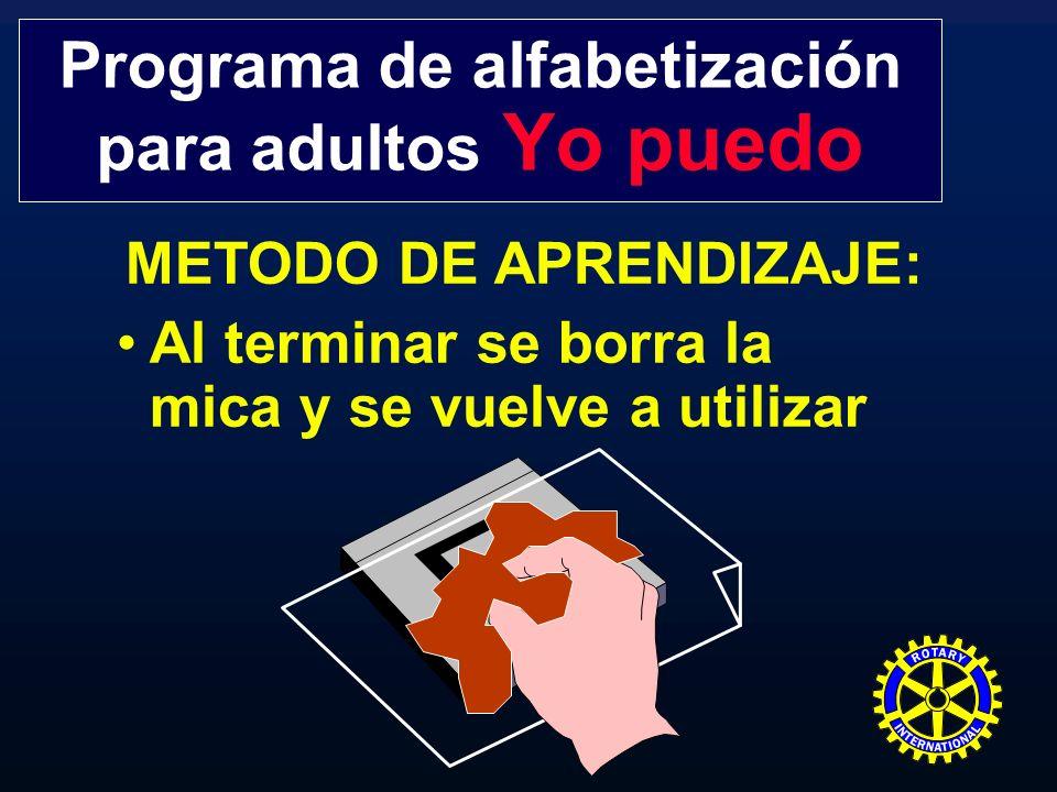 METODO DE APRENDIZAJE: Se repite el sistema cuantas veces sea necesario Programa de alfabetización para adultos Yo puedo