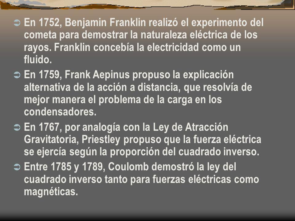 En 1752, Benjamin Franklin realizó el experimento del cometa para demostrar la naturaleza eléctrica de los rayos. Franklin concebía la electricidad co