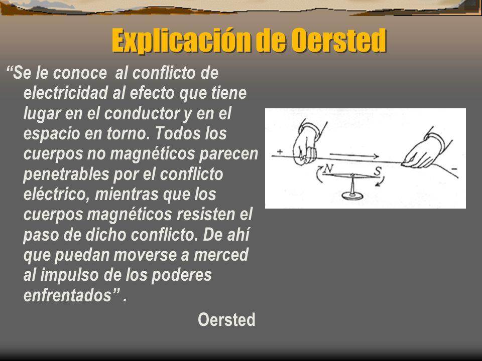 Explicación de Oersted Se le conoce al conflicto de electricidad al efecto que tiene lugar en el conductor y en el espacio en torno. Todos los cuerpos