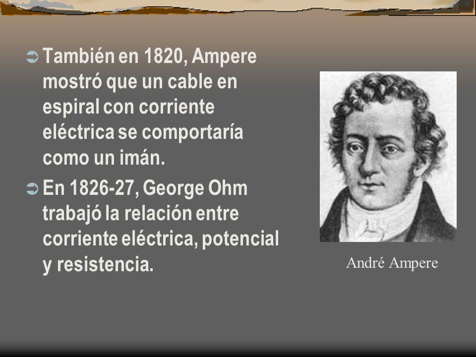 También en 1820, Ampere mostró que un cable en espiral con corriente eléctrica se comportaría como un imán. En 1826-27, George Ohm trabajó la relación