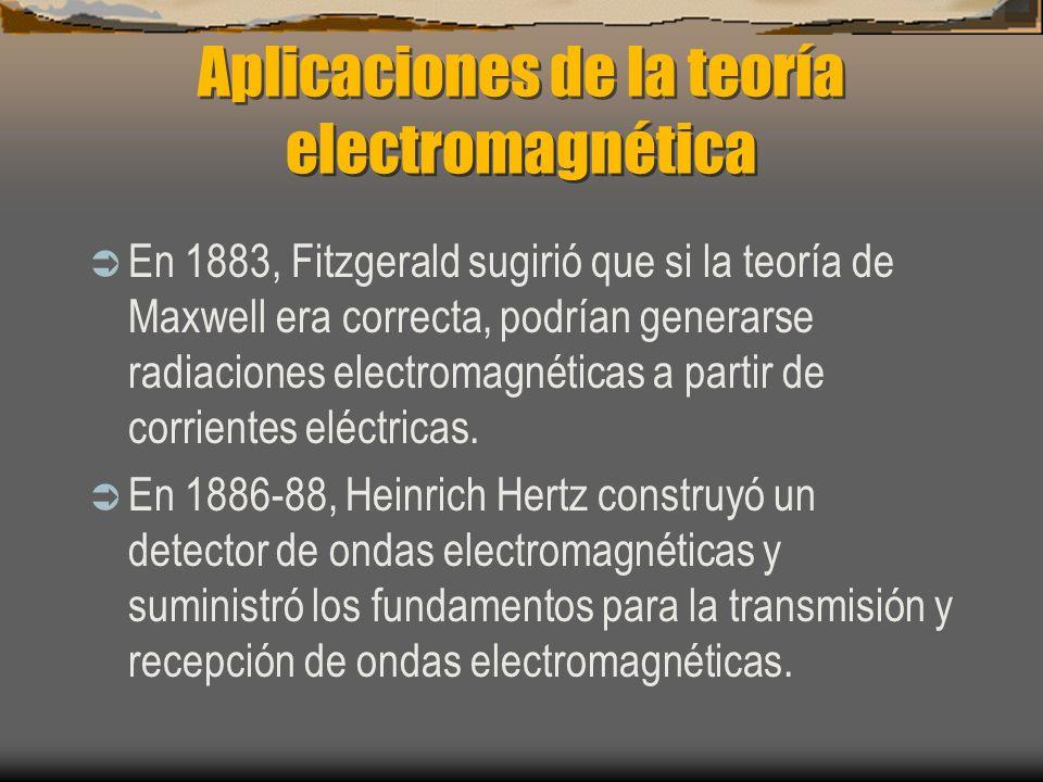 Aplicaciones de la teoría electromagnética En 1883, Fitzgerald sugirió que si la teoría de Maxwell era correcta, podrían generarse radiaciones electro