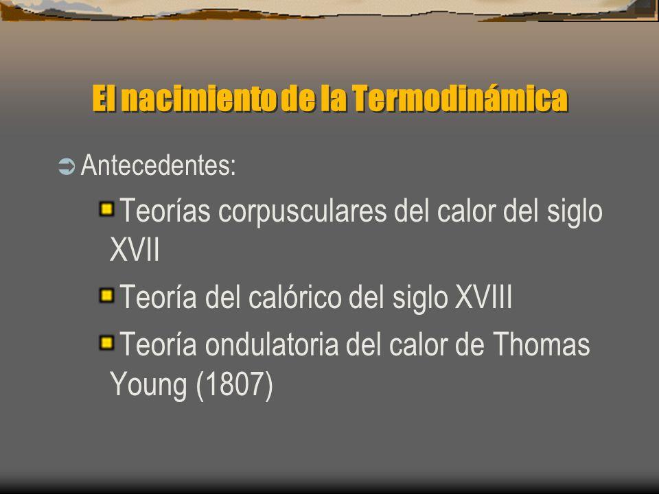 El nacimiento de la Termodinámica Antecedentes: Teorías corpusculares del calor del siglo XVII Teoría del calórico del siglo XVIII Teoría ondulatoria