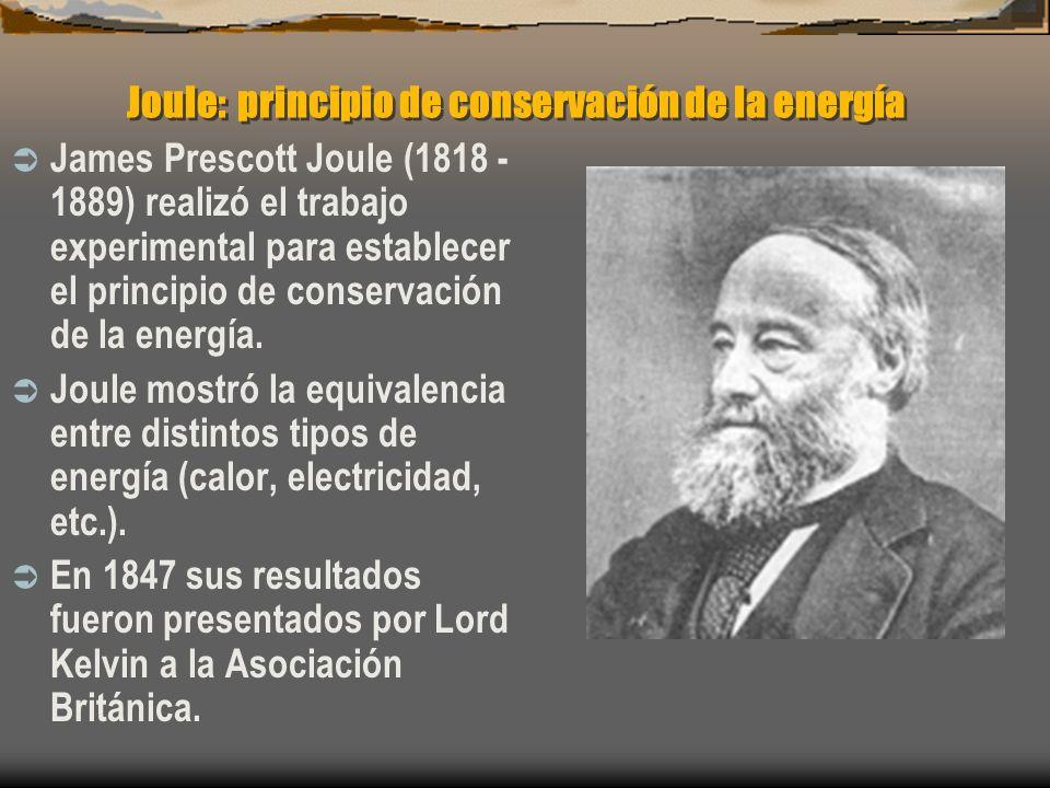 Joule: principio de conservación de la energía James Prescott Joule (1818 - 1889) realizó el trabajo experimental para establecer el principio de cons