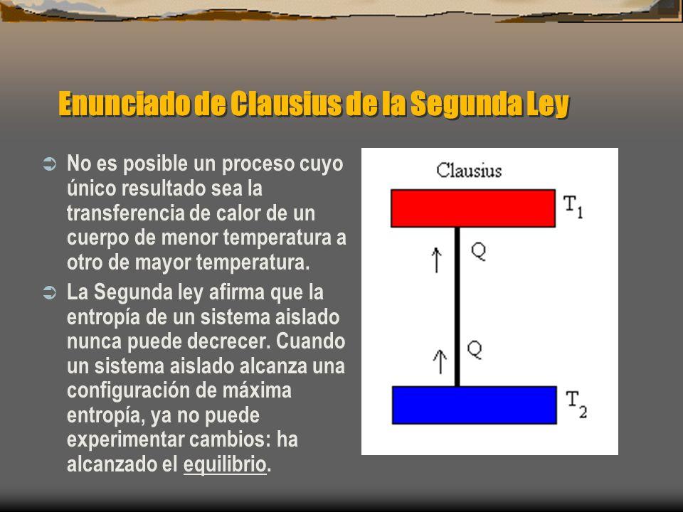 Enunciado de Clausius de la Segunda Ley No es posible un proceso cuyo único resultado sea la transferencia de calor de un cuerpo de menor temperatura