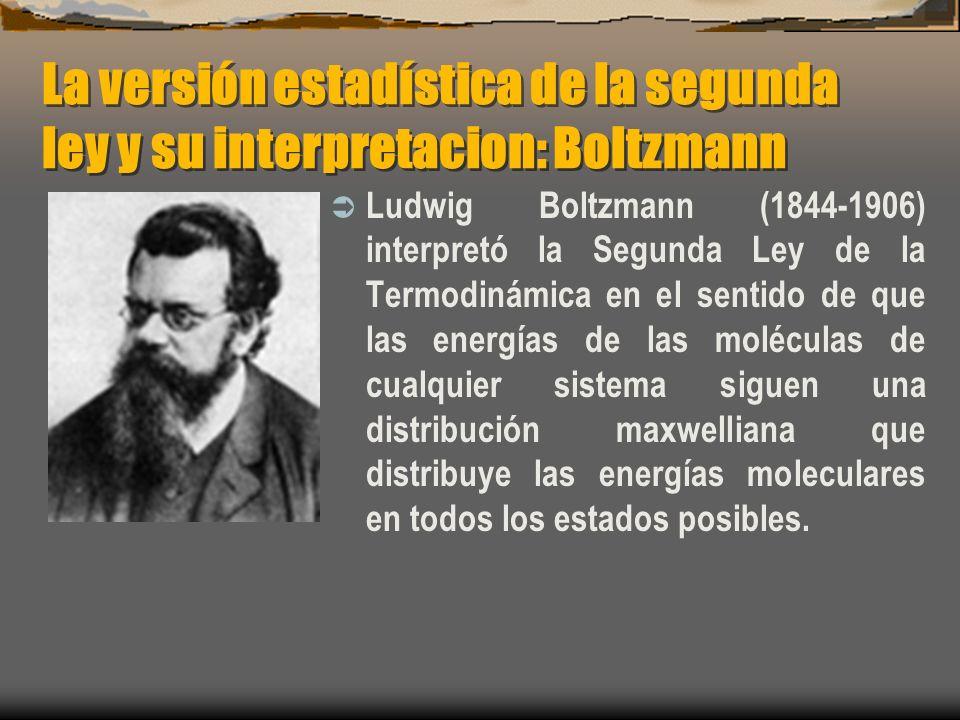 La versión estadística de la segunda ley y su interpretacion: Boltzmann Ludwig Boltzmann (1844-1906) interpretó la Segunda Ley de la Termodinámica en
