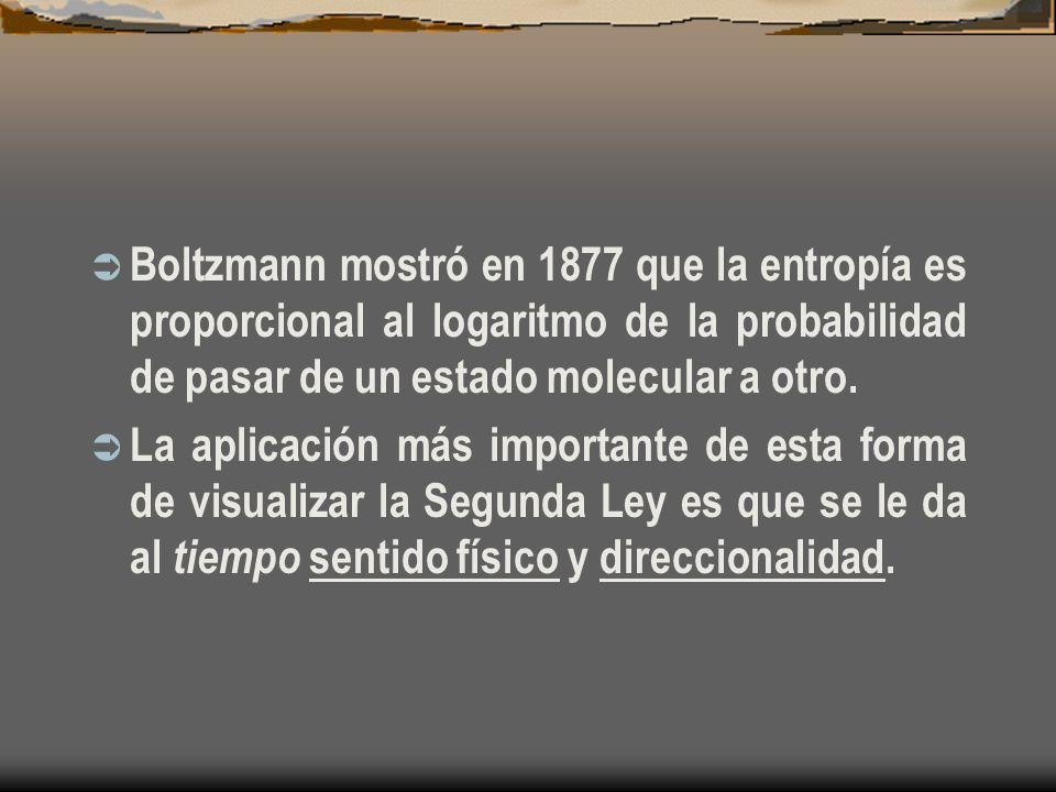 Boltzmann mostró en 1877 que la entropía es proporcional al logaritmo de la probabilidad de pasar de un estado molecular a otro. La aplicación más imp