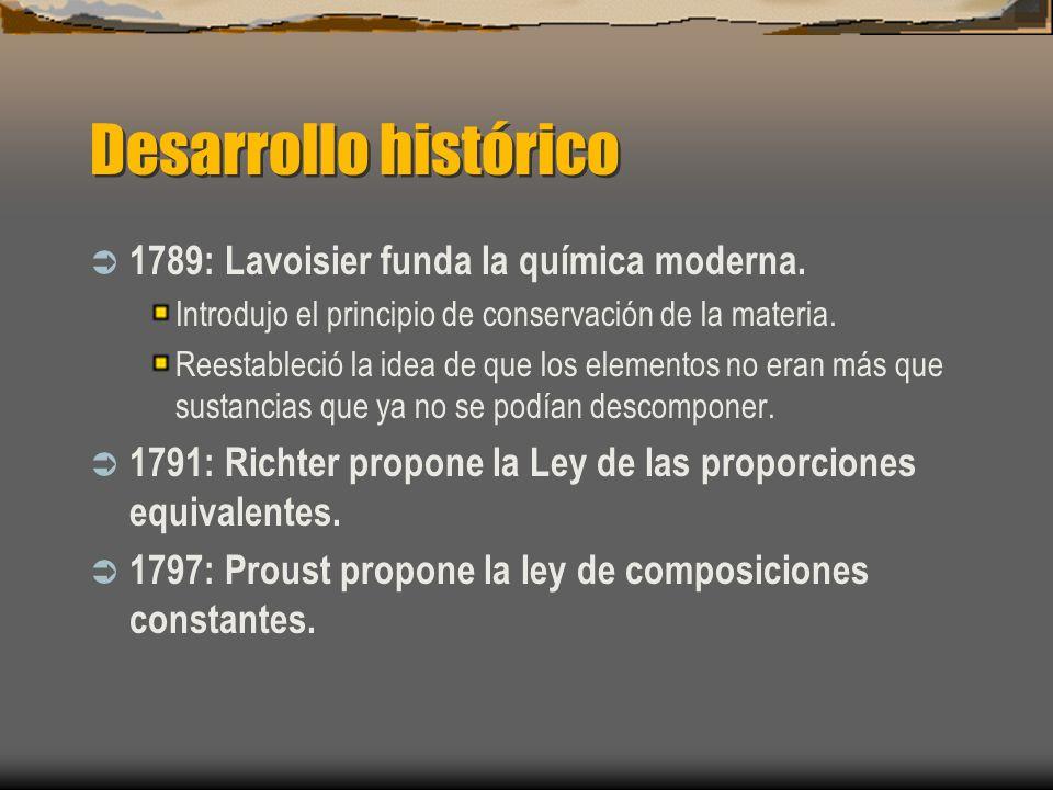 Desarrollo histórico 1789: Lavoisier funda la química moderna. Introdujo el principio de conservación de la materia. Reestableció la idea de que los e