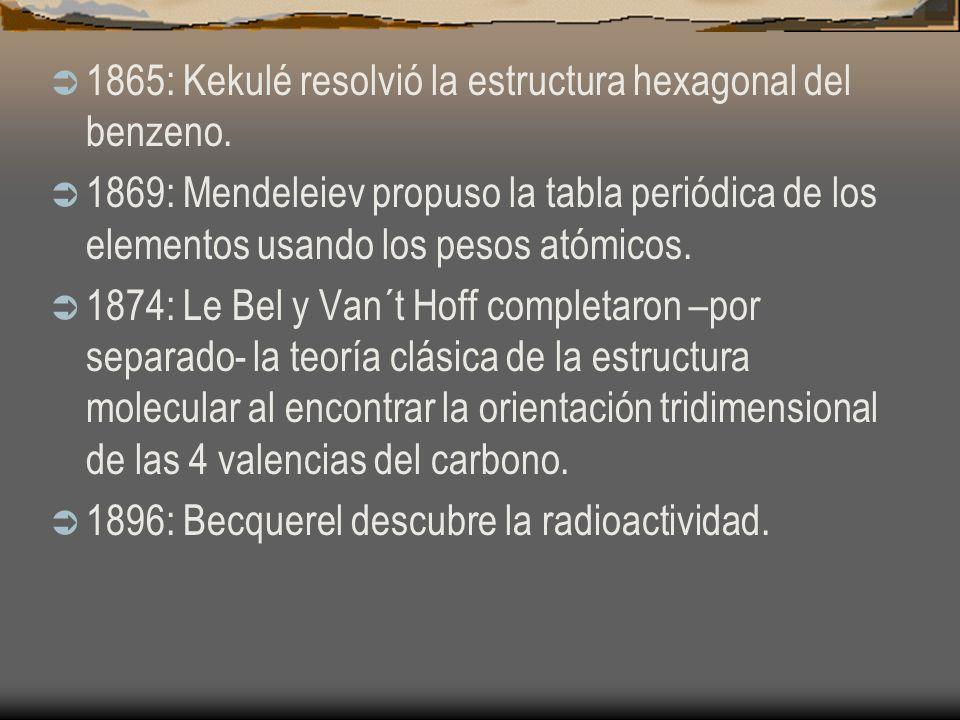 1865: Kekulé resolvió la estructura hexagonal del benzeno. 1869: Mendeleiev propuso la tabla periódica de los elementos usando los pesos atómicos. 187