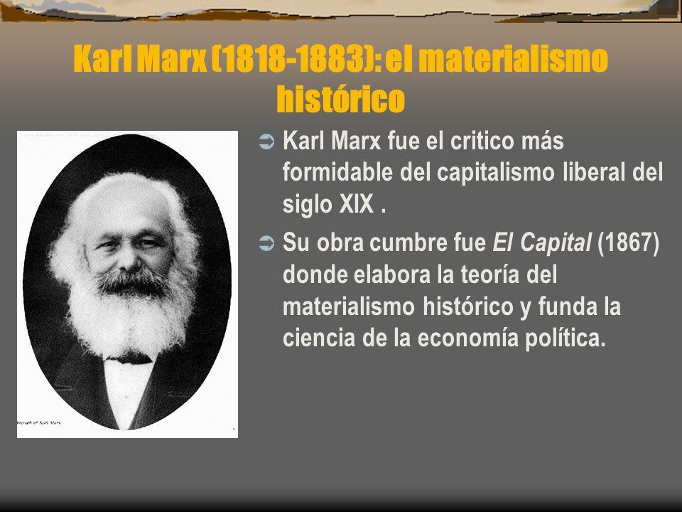 Karl Marx fue el critico más formidable del capitalismo liberal del siglo XIX. Su obra cumbre fue El Capital (1867) donde elabora la teoría del materi
