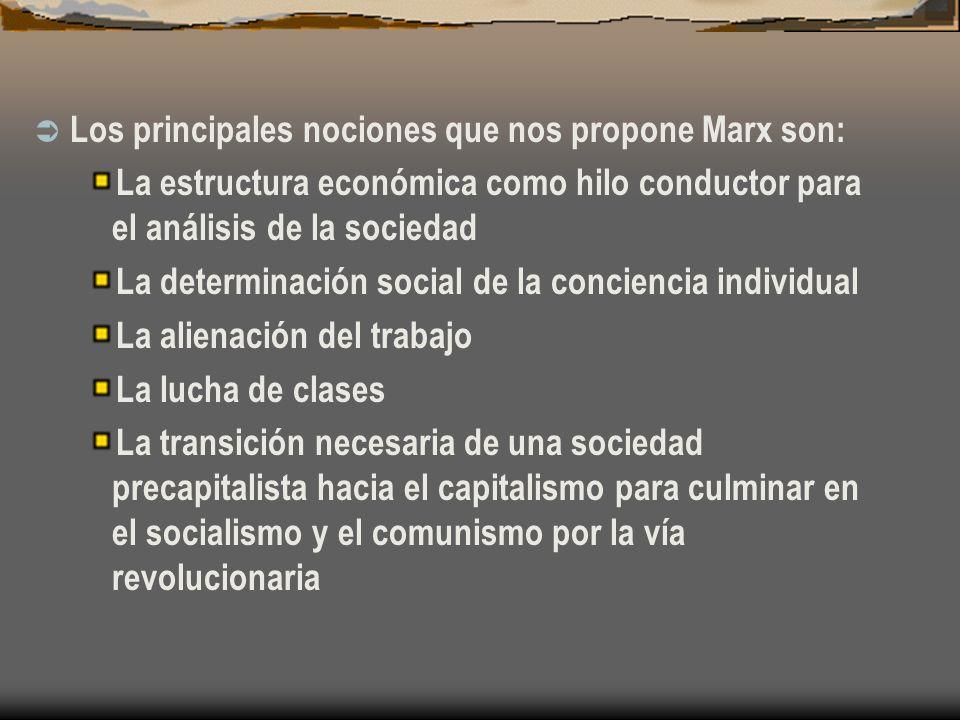 Los principales nociones que nos propone Marx son: La estructura económica como hilo conductor para el análisis de la sociedad La determinación social