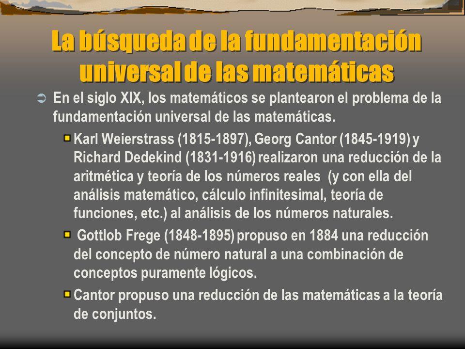 La búsqueda de la fundamentación universal de las matemáticas En el siglo XIX, los matemáticos se plantearon el problema de la fundamentación universa