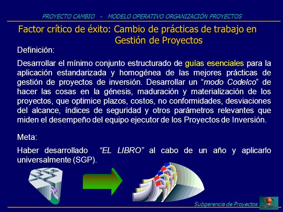 Subgerencia de Proyectos Factor crítico de éxito: Cambio de prácticas de trabajo en Gestión de Proyectos PROYECTO CAMBIO - MODELO OPERATIVO ORGANIZACI