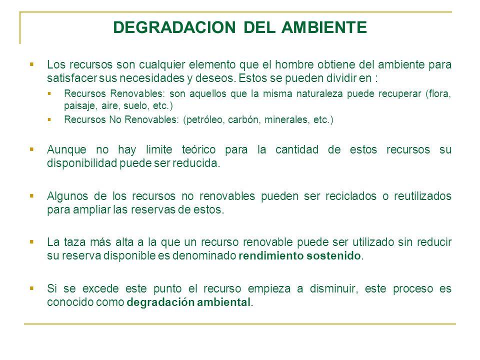 DEGRADACION DEL AMBIENTE Los recursos son cualquier elemento que el hombre obtiene del ambiente para satisfacer sus necesidades y deseos.