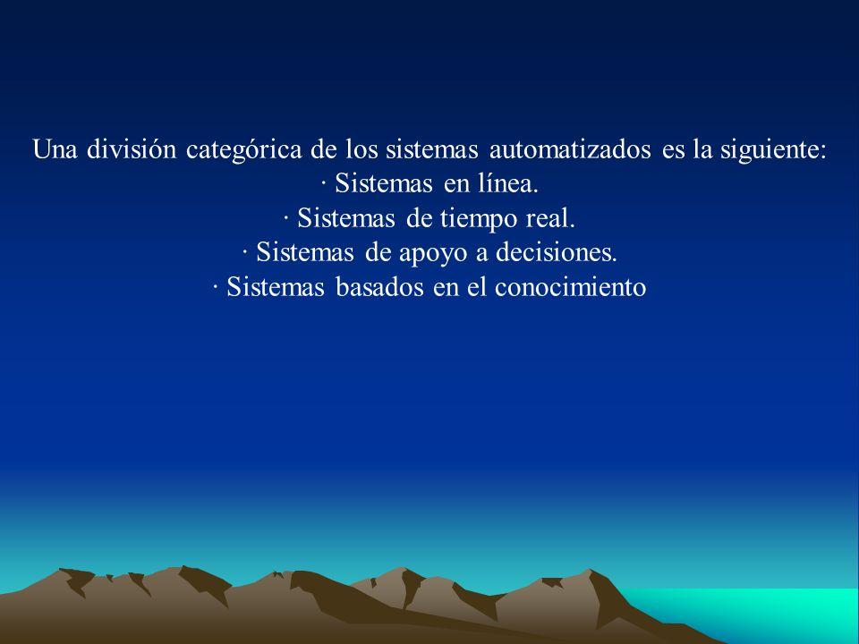 Una división categórica de los sistemas automatizados es la siguiente: · Sistemas en línea. · Sistemas de tiempo real. · Sistemas de apoyo a decisione