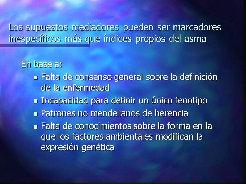 Los supuestos mediadores pueden ser marcadores inespecíficos más que índices propios del asma En base a: Falta de consenso general sobre la definición de la enfermedad Falta de consenso general sobre la definición de la enfermedad Incapacidad para definir un único fenotipo Incapacidad para definir un único fenotipo Patrones no mendelianos de herencia Patrones no mendelianos de herencia Falta de conocimientos sobre la forma en la que los factores ambientales modifican la expresión genética Falta de conocimientos sobre la forma en la que los factores ambientales modifican la expresión genética