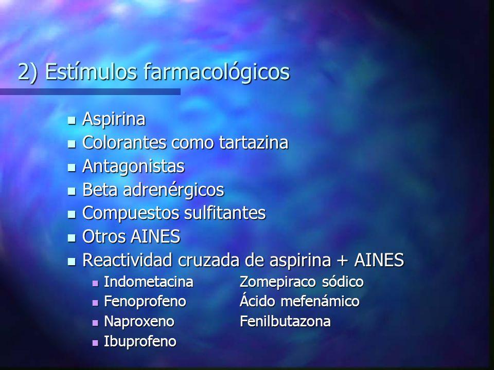 2) Estímulos farmacológicos Aspirina Aspirina Colorantes como tartazina Colorantes como tartazina Antagonistas Antagonistas Beta adrenérgicos Beta adrenérgicos Compuestos sulfitantes Compuestos sulfitantes Otros AINES Otros AINES Reactividad cruzada de aspirina + AINES Reactividad cruzada de aspirina + AINES IndometacinaZomepiraco sódico IndometacinaZomepiraco sódico FenoprofenoÁcido mefenámico FenoprofenoÁcido mefenámico NaproxenoFenilbutazona NaproxenoFenilbutazona Ibuprofeno Ibuprofeno