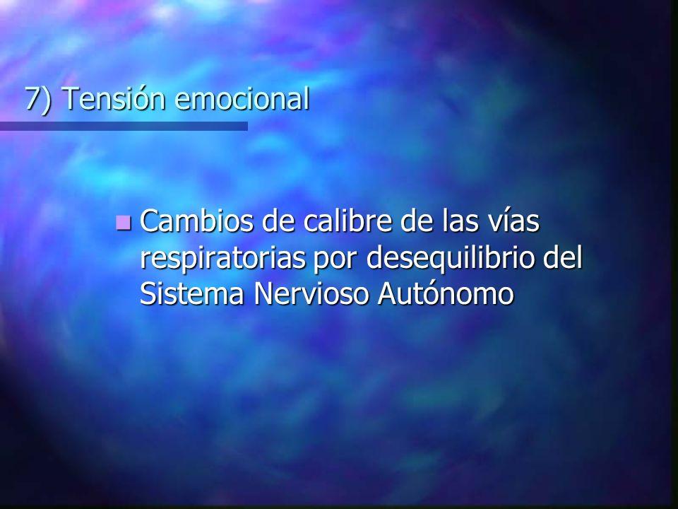 7) Tensión emocional Cambios de calibre de las vías respiratorias por desequilibrio del Sistema Nervioso Autónomo Cambios de calibre de las vías respiratorias por desequilibrio del Sistema Nervioso Autónomo