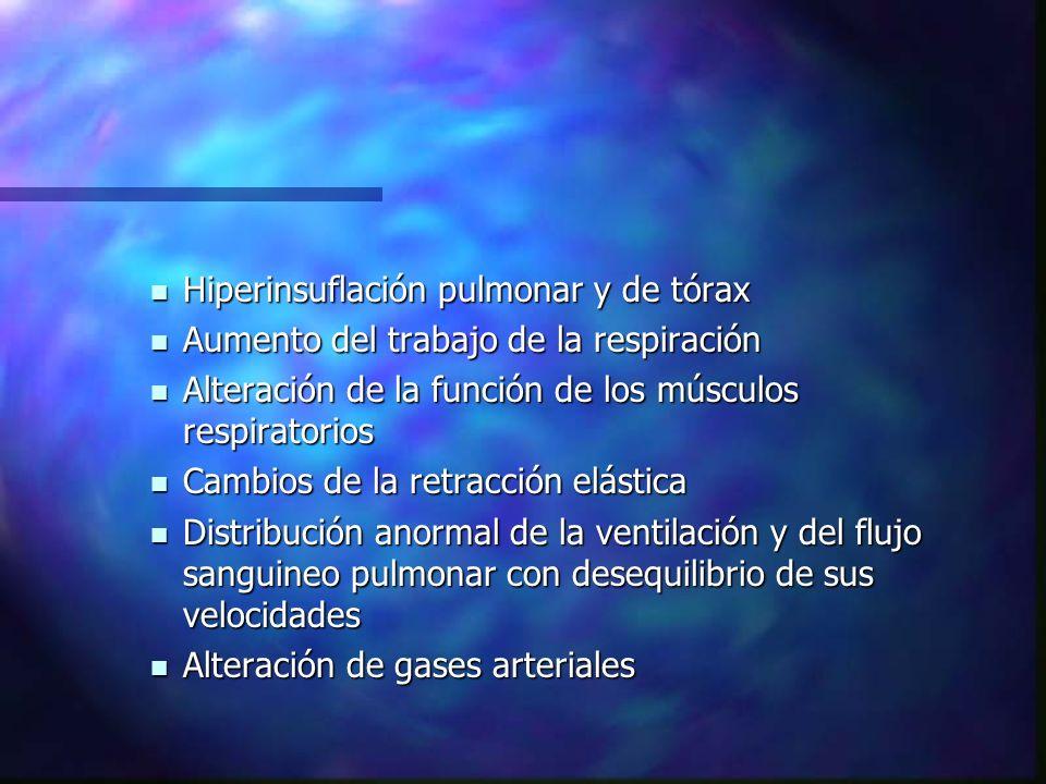 Hiperinsuflación pulmonar y de tórax Hiperinsuflación pulmonar y de tórax Aumento del trabajo de la respiración Aumento del trabajo de la respiración Alteración de la función de los músculos respiratorios Alteración de la función de los músculos respiratorios Cambios de la retracción elástica Cambios de la retracción elástica Distribución anormal de la ventilación y del flujo sanguineo pulmonar con desequilibrio de sus velocidades Distribución anormal de la ventilación y del flujo sanguineo pulmonar con desequilibrio de sus velocidades Alteración de gases arteriales Alteración de gases arteriales