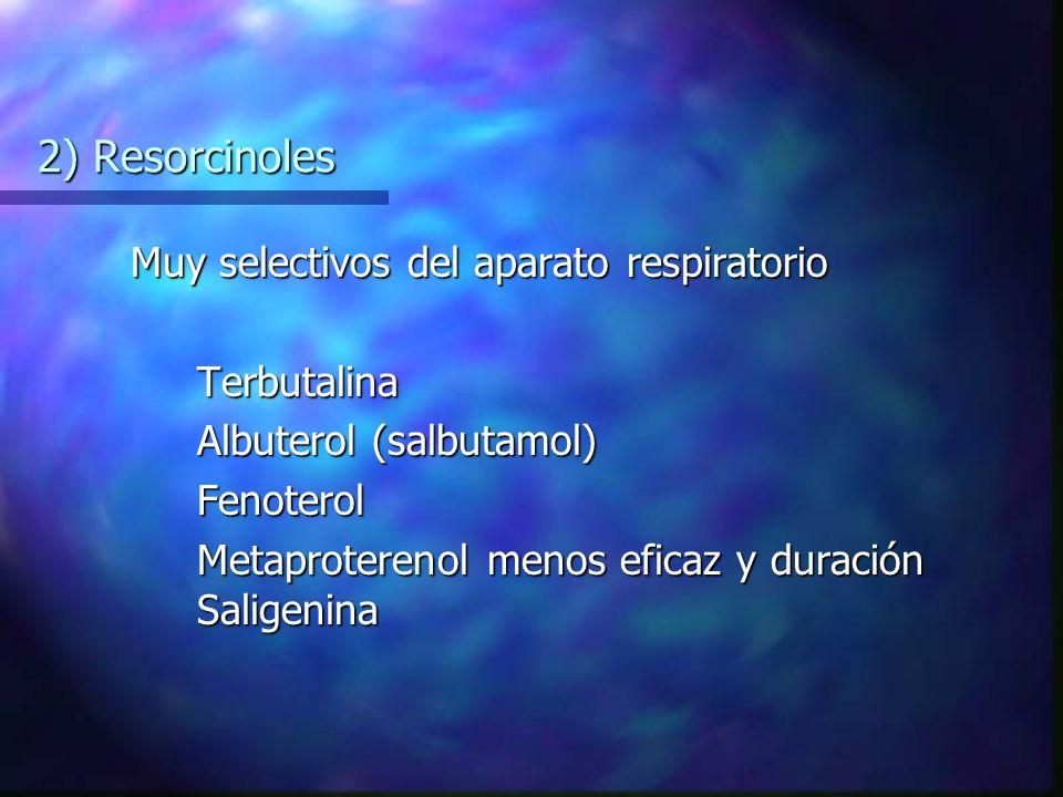 2) Resorcinoles Muy selectivos del aparato respiratorio Terbutalina Albuterol (salbutamol) Fenoterol Metaproterenol menos eficaz y duración Saligenina