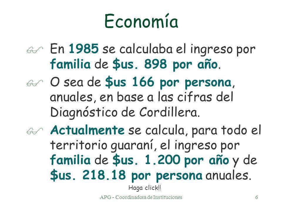 APG - Coordinadora de Instituciones6 Economía $En 1985 se calculaba el ingreso por familia de $us.