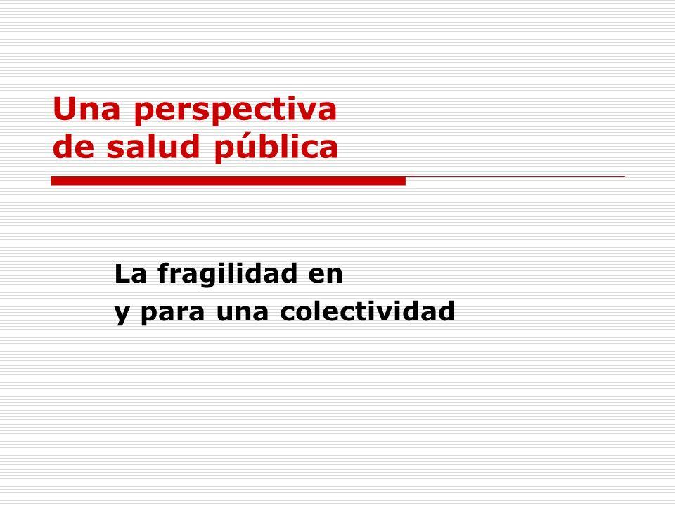 Una perspectiva de salud pública La fragilidad en y para una colectividad