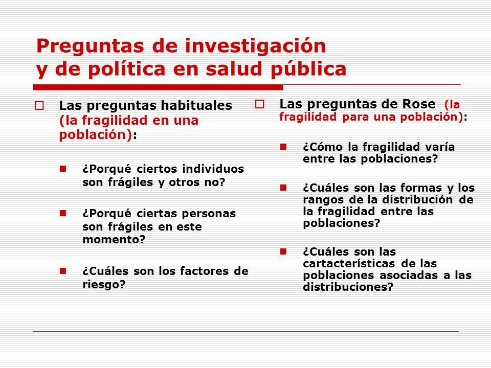 Preguntas de investigación y de política en salud pública Las preguntas habituales (la fragilidad en una población): ¿Porqué ciertos individuos son fr