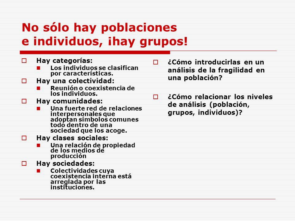 No sólo hay poblaciones e individuos, ¡hay grupos! Hay categorías: Los individuos se clasifican por características. Hay una colectividad: Reunión o c