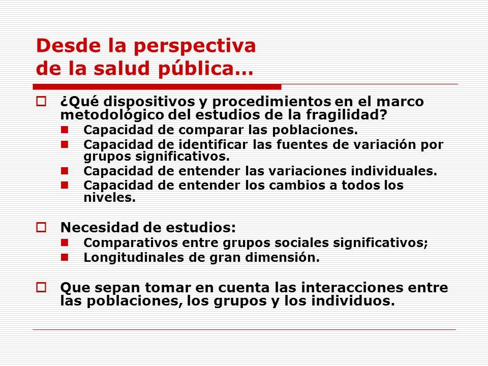 Desde la perspectiva de la salud pública… ¿Qué dispositivos y procedimientos en el marco metodológico del estudios de la fragilidad? Capacidad de comp
