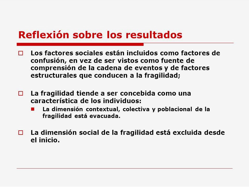 Reflexión sobre los resultados Los factores sociales están incluidos como factores de confusión, en vez de ser vistos como fuente de comprensión de la