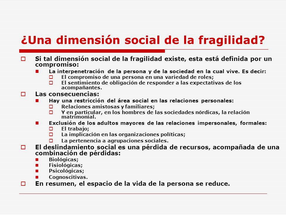 ¿Una dimensión social de la fragilidad? Si tal dimensión social de la fragilidad existe, esta está definida por un compromiso: La interpenetración de
