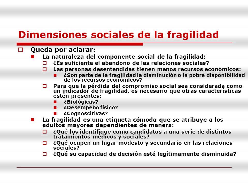 Dimensiones sociales de la fragilidad Queda por aclarar: La naturaleza del componente social de la fragilidad: ¿Es suficiente el abandono de las relac