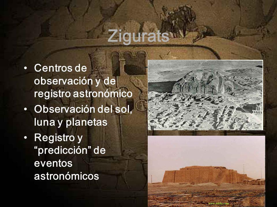 Zigurats Centros de observación y de registro astronómico Observación del sol, luna y planetas Registro y predicción de eventos astronómicos