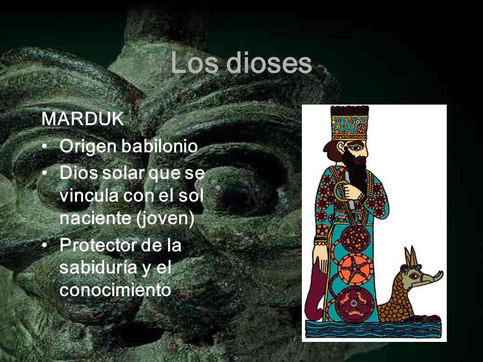 Los dioses MARDUK Origen babilonio Dios solar que se vincula con el sol naciente (joven) Protector de la sabiduría y el conocimiento