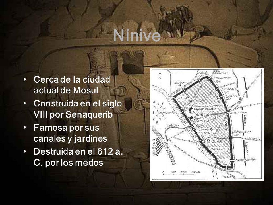 Nínive Cerca de la ciudad actual de Mosul Construida en el siglo VIII por Senaquerib Famosa por sus canales y jardines Destruida en el 612 a. C. por l
