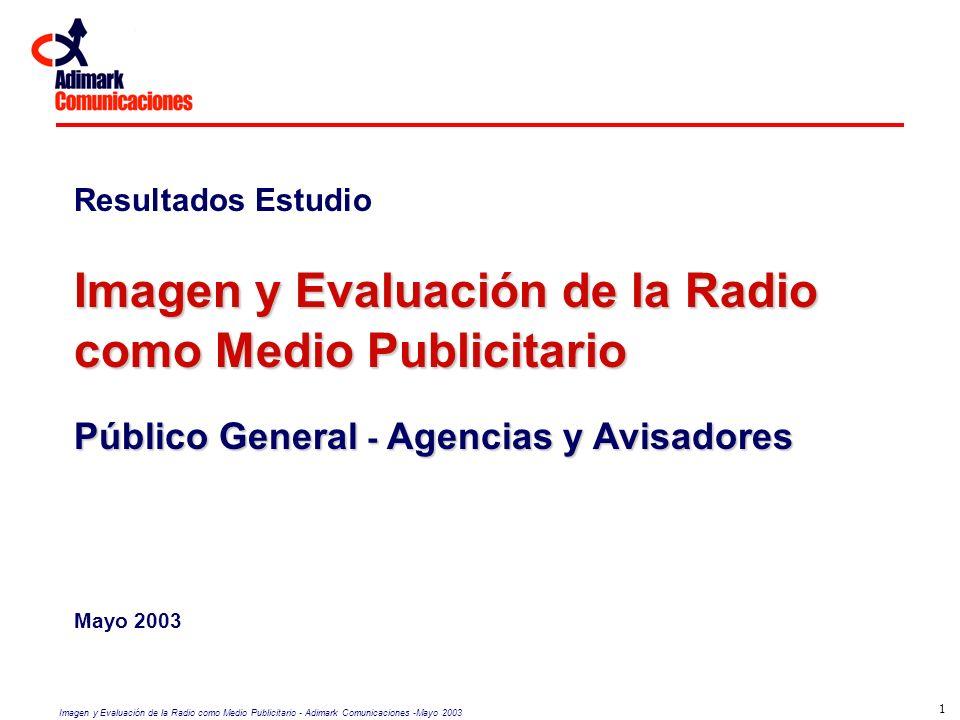 Imagen y Evaluación de la Radio como Medio Publicitario - Adimark Comunicaciones -Mayo 2003 1 Resultados Estudio Imagen y Evaluación de la Radio como