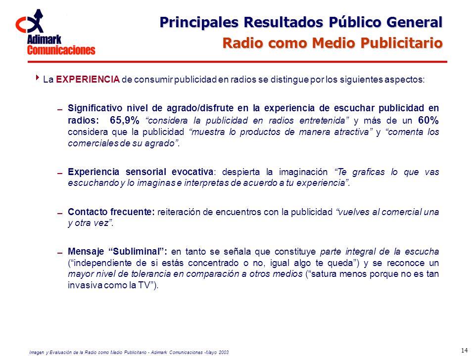 Imagen y Evaluación de la Radio como Medio Publicitario - Adimark Comunicaciones -Mayo 2003 14 La EXPERIENCIA de consumir publicidad en radios se dist