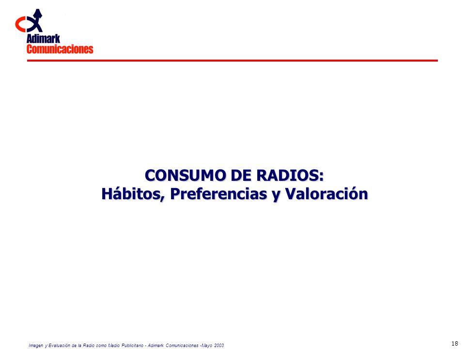 Imagen y Evaluación de la Radio como Medio Publicitario - Adimark Comunicaciones -Mayo 2003 18 CONSUMO DE RADIOS: Hábitos, Preferencias y Valoración
