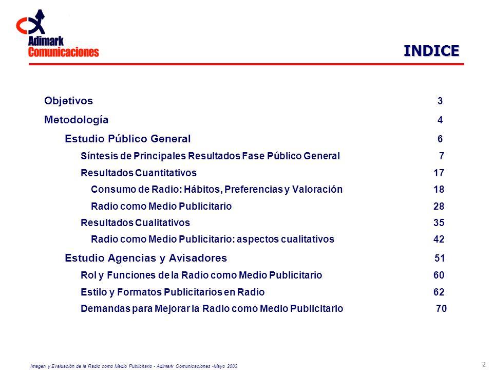 Imagen y Evaluación de la Radio como Medio Publicitario - Adimark Comunicaciones -Mayo 2003 3 Conocer la imagen y rol de la radio como medio publicitario, estableciendo sus atributos y efectividad diferenciales respecto de otros medios de comunicación.