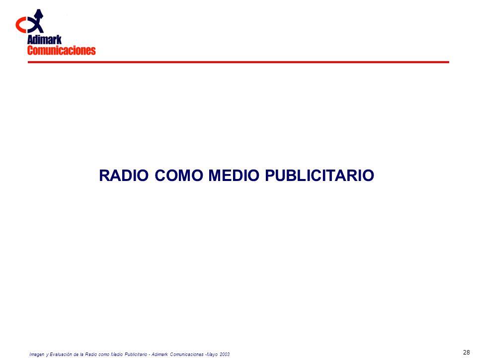 Imagen y Evaluación de la Radio como Medio Publicitario - Adimark Comunicaciones -Mayo 2003 28 RADIO COMO MEDIO PUBLICITARIO