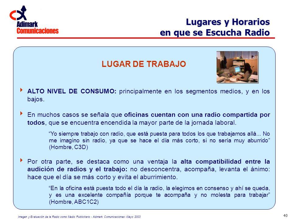 Imagen y Evaluación de la Radio como Medio Publicitario - Adimark Comunicaciones -Mayo 2003 40 Lugares y Horarios en que se Escucha Radio LUGAR DE TRA