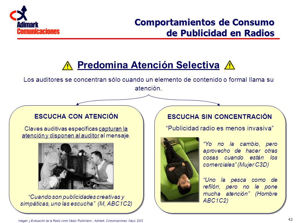 Imagen y Evaluación de la Radio como Medio Publicitario - Adimark Comunicaciones -Mayo 2003 43 Comportamientos de Consumo de Publicidad en Radios Comp