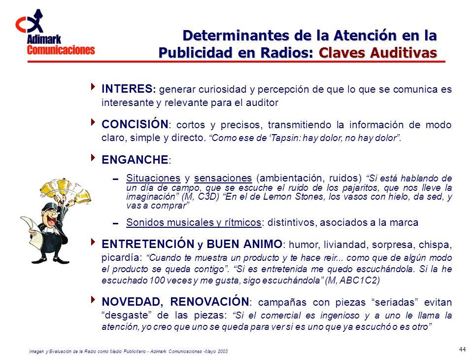 Imagen y Evaluación de la Radio como Medio Publicitario - Adimark Comunicaciones -Mayo 2003 44 Determinantes de la Atención en la Publicidad en Radios