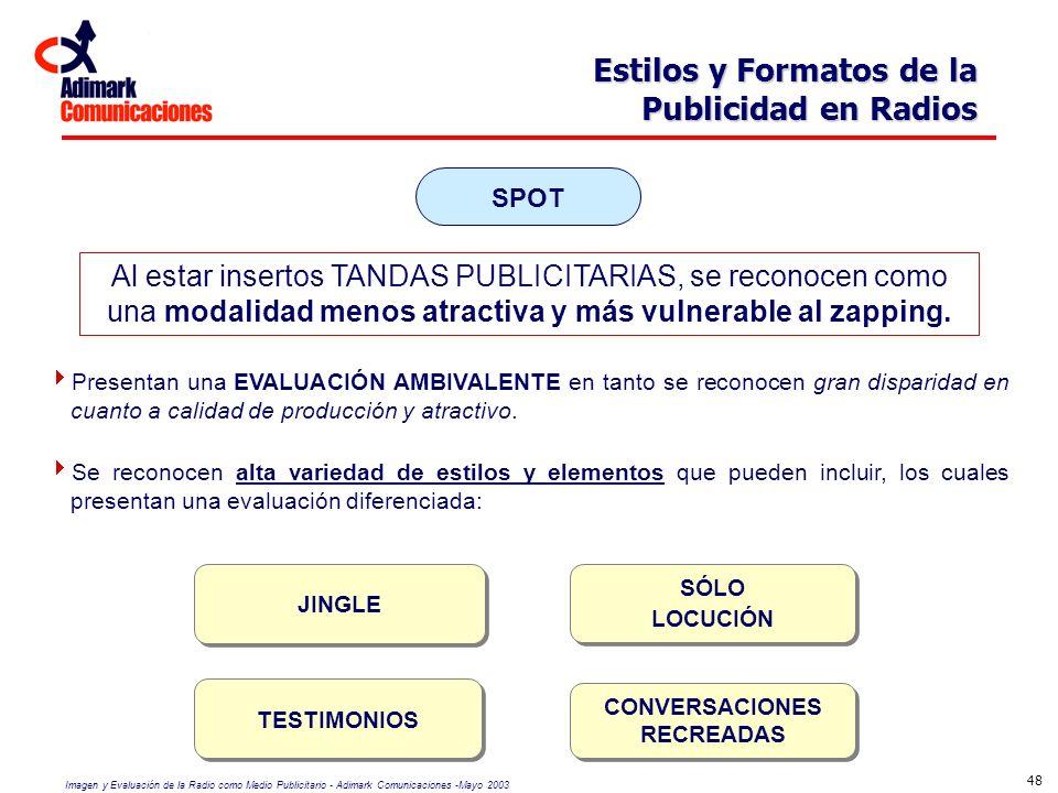 Imagen y Evaluación de la Radio como Medio Publicitario - Adimark Comunicaciones -Mayo 2003 48 Estilos y Formatos de la Publicidad en Radios Presentan