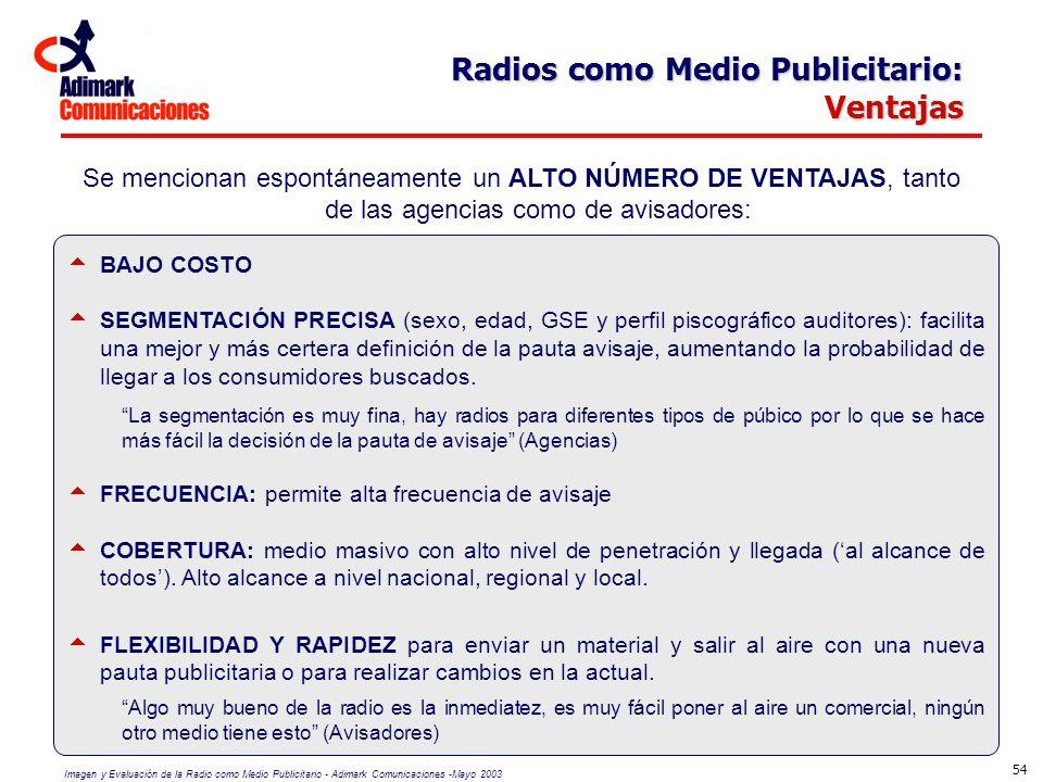 Imagen y Evaluación de la Radio como Medio Publicitario - Adimark Comunicaciones -Mayo 2003 54 Radios como Medio Publicitario: Ventajas Se mencionan e