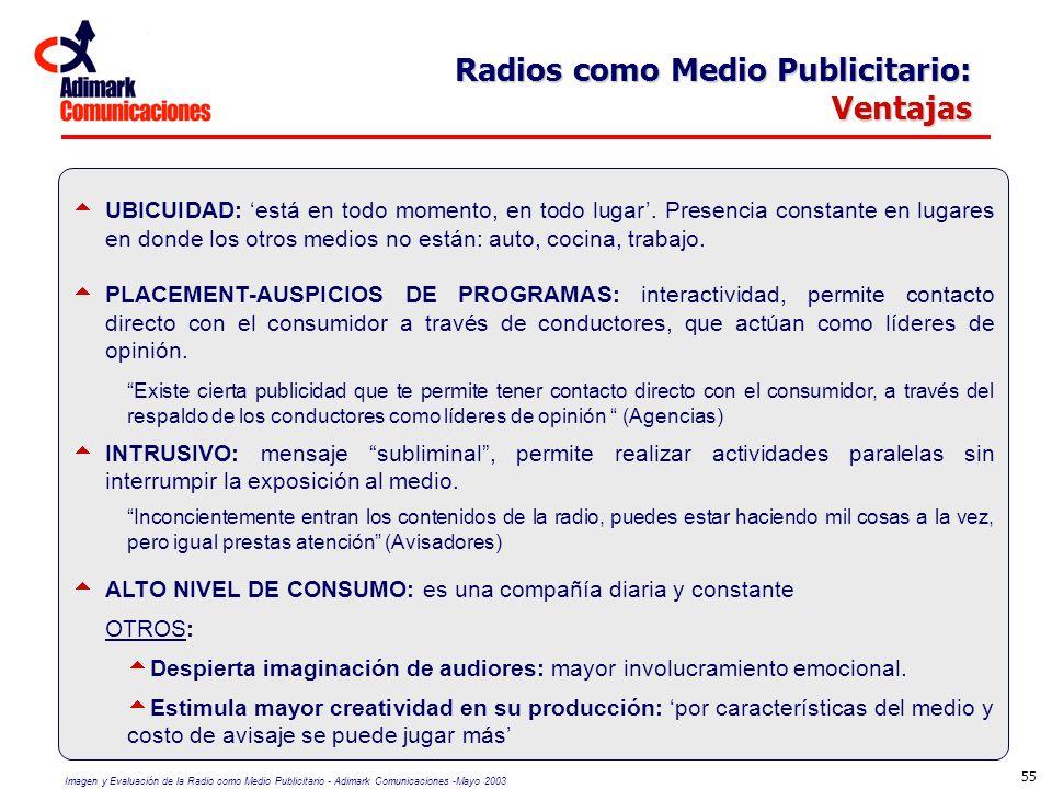 Imagen y Evaluación de la Radio como Medio Publicitario - Adimark Comunicaciones -Mayo 2003 55 Radios como Medio Publicitario: Ventajas UBICUIDAD: est
